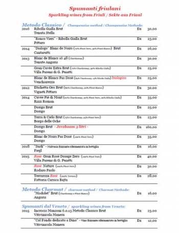 catalogo-Wine list of the Osteria di Ramandolo